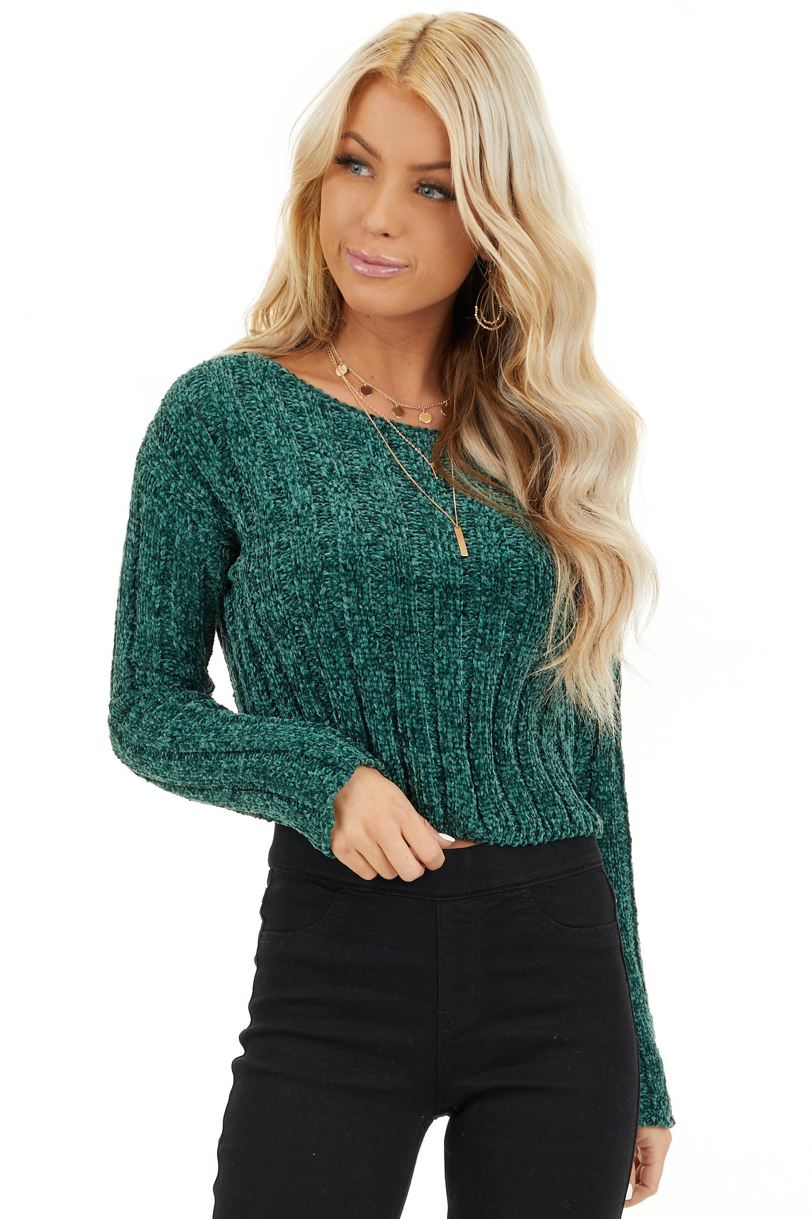 Forest Green Cropped Chenille Sweater with Long Sleeves front close up