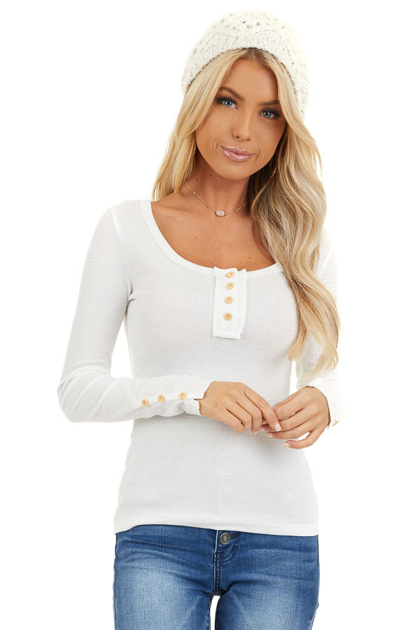 White Textured Long Sleeve Henley Top with Button Details front close up