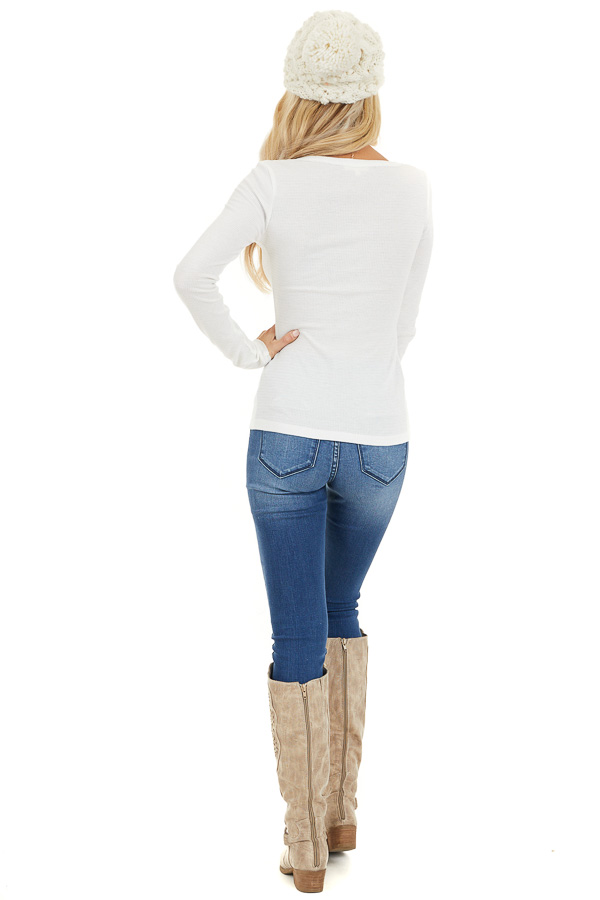 White Textured Long Sleeve Henley Top with Button Details back full body