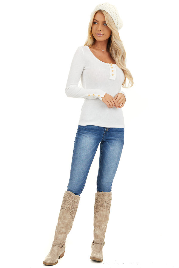 White Textured Long Sleeve Henley Top with Button Details front full body