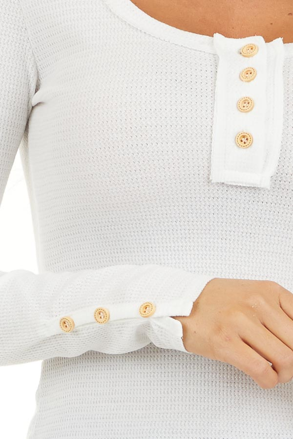 White Textured Long Sleeve Henley Top with Button Details detail