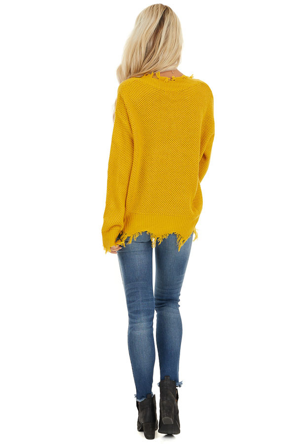 Mustard Yellow Distressed Knit Sweater with V Neckline back full body