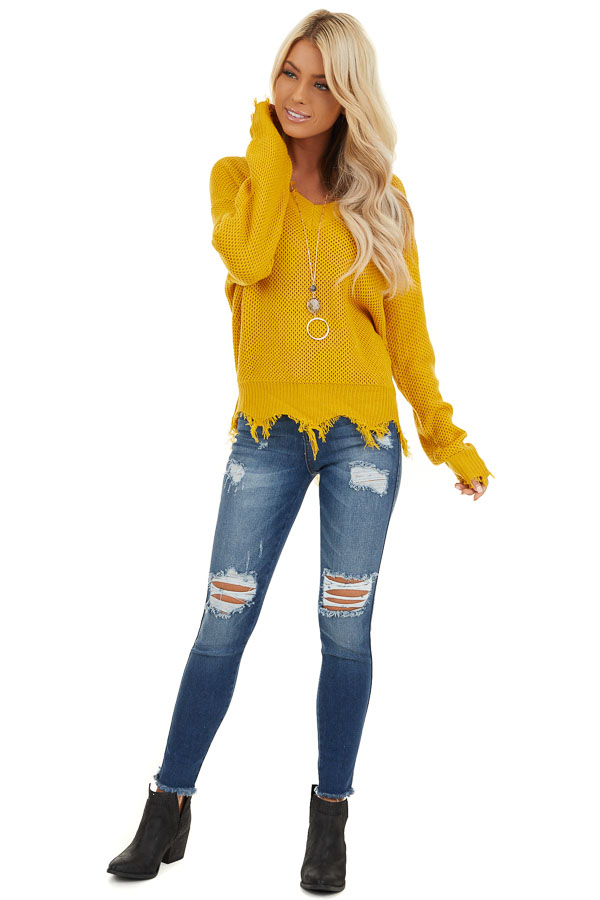 Mustard Yellow Distressed Knit Sweater with V Neckline front full body