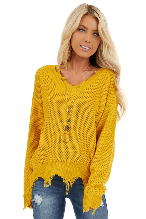 Mustard Yellow Distressed Knit Sweater with V Neckline front close up