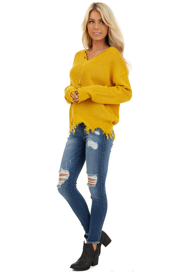 Mustard Yellow Distressed Knit Sweater with V Neckline side full body