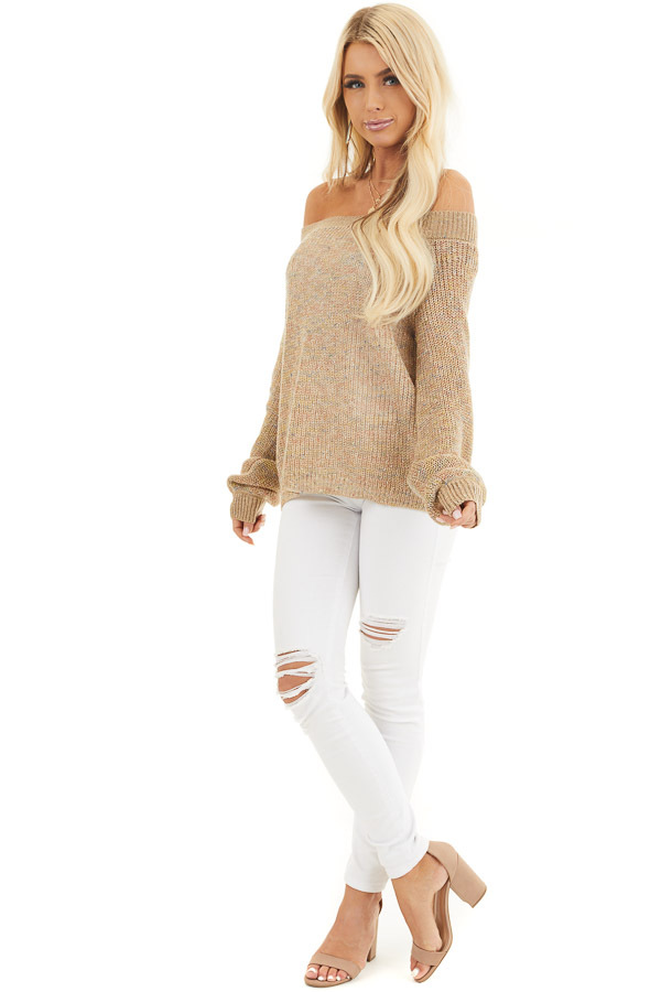 Taupe Speckled Wide Neck Lightweight Sweater Top front full body