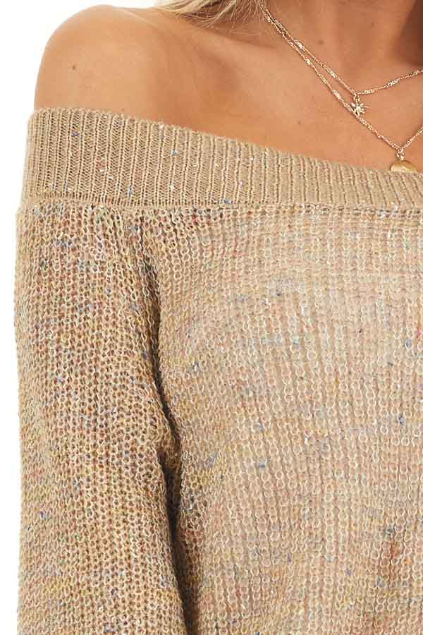 Taupe Speckled Wide Neck Lightweight Sweater Top detail