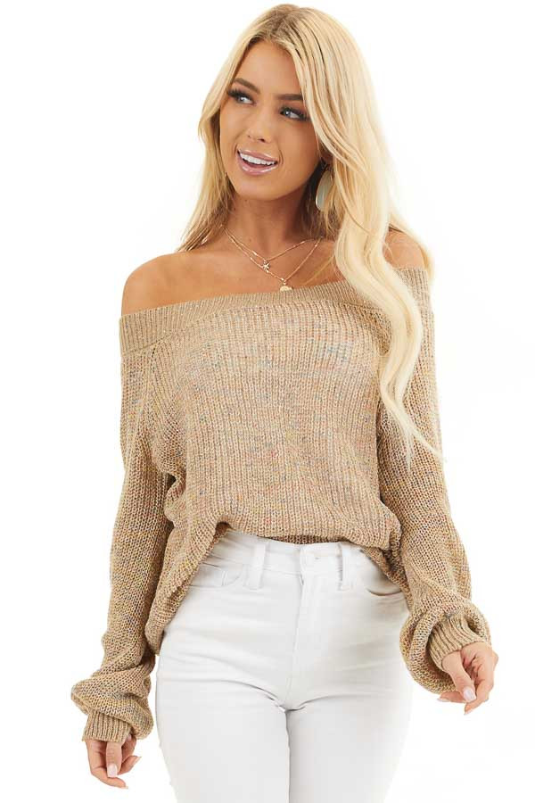 Taupe Speckled Wide Neck Lightweight Sweater Top front close up
