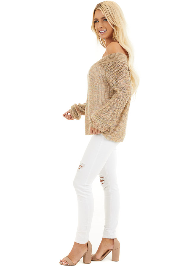Taupe Speckled Wide Neck Lightweight Sweater Top side full body