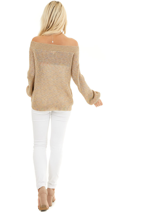Taupe Speckled Wide Neck Lightweight Sweater Top back full body