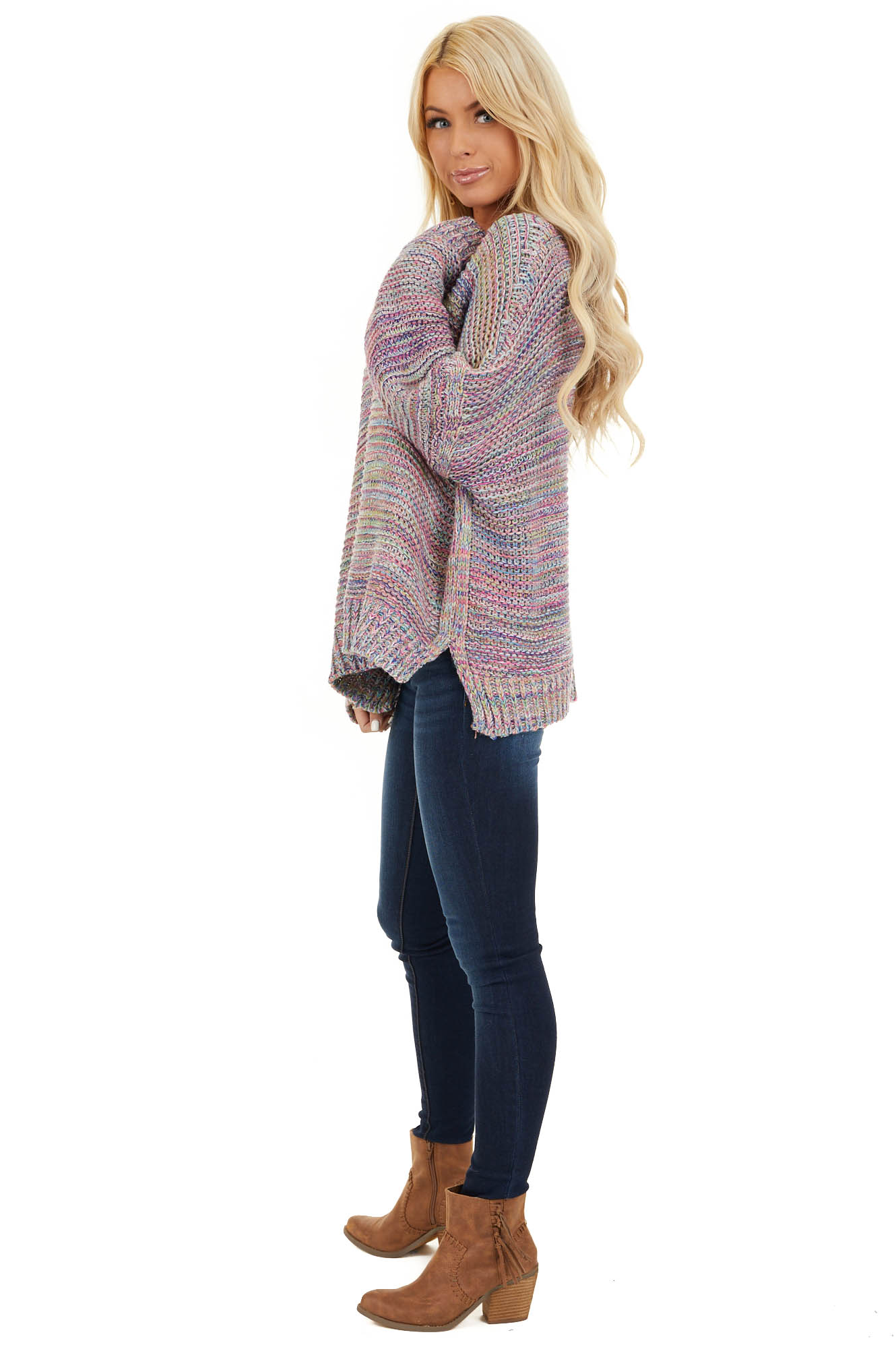 Royal Blue and Baby Pink Multicolor Knit Sweater side full body