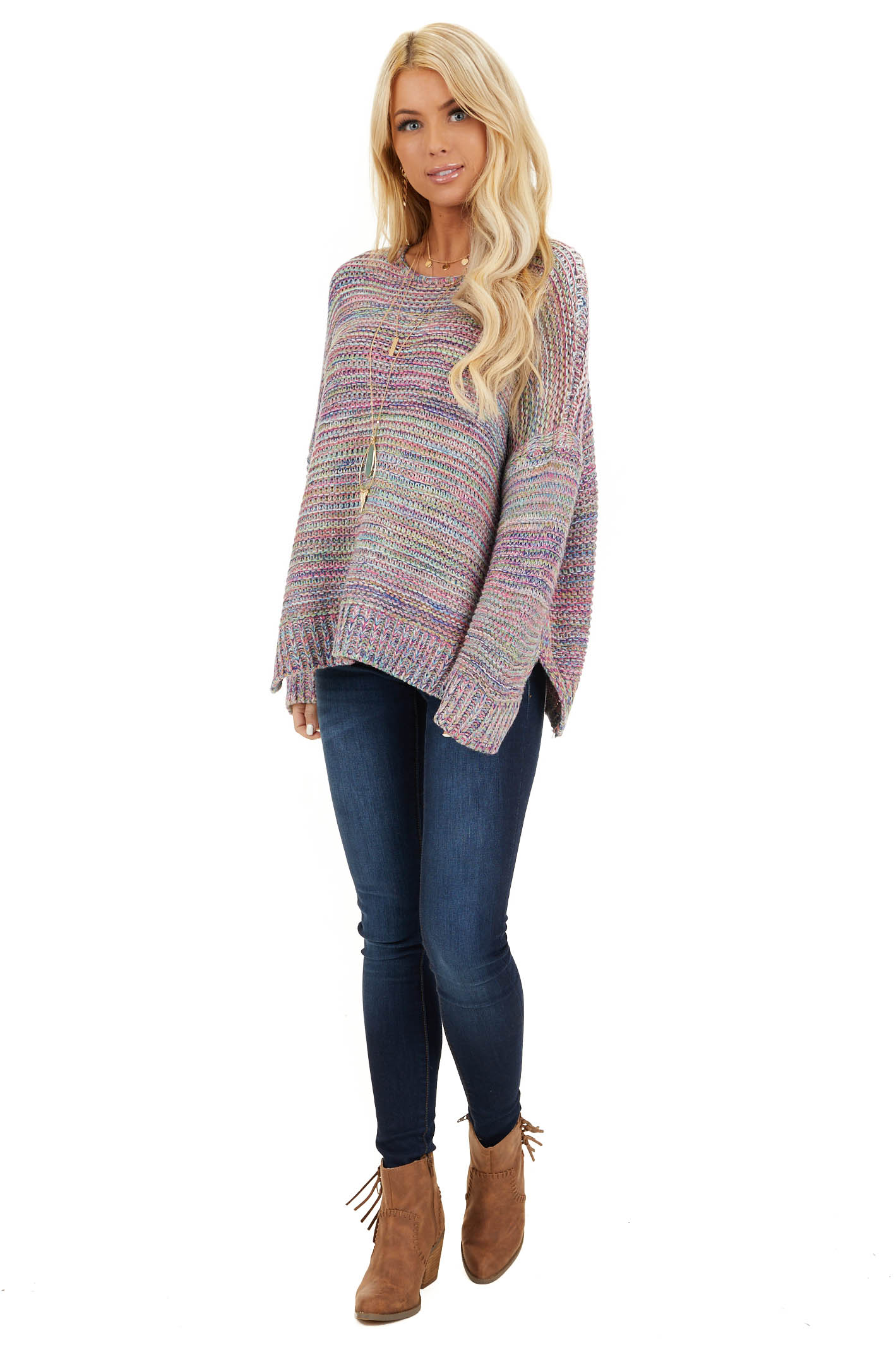 Royal Blue and Baby Pink Multicolor Knit Sweater front full body