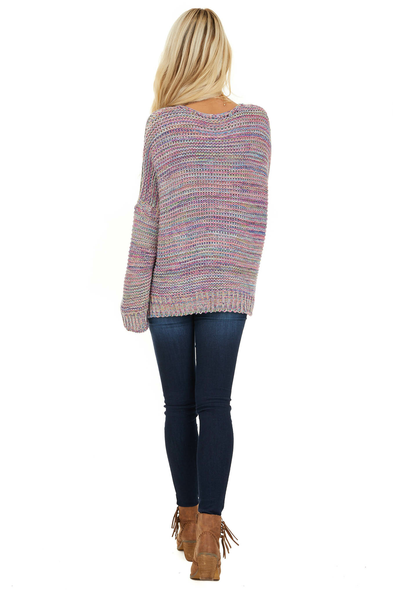 Royal Blue and Baby Pink Multicolor Knit Sweater back full body