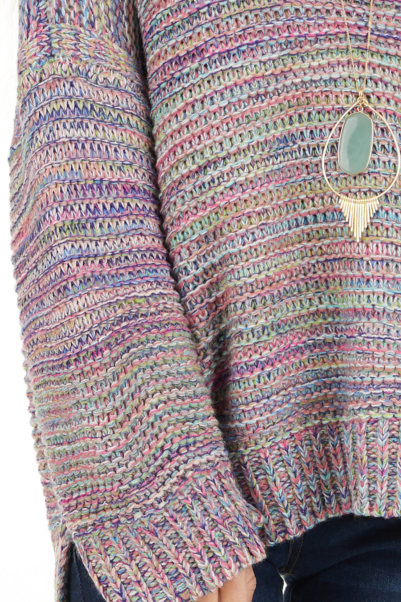 Royal Blue and Baby Pink Multicolor Knit Sweater detail