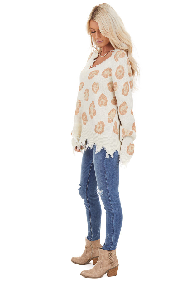Ivory Leopard Print V Neck Sweater with Distressed Details side full body