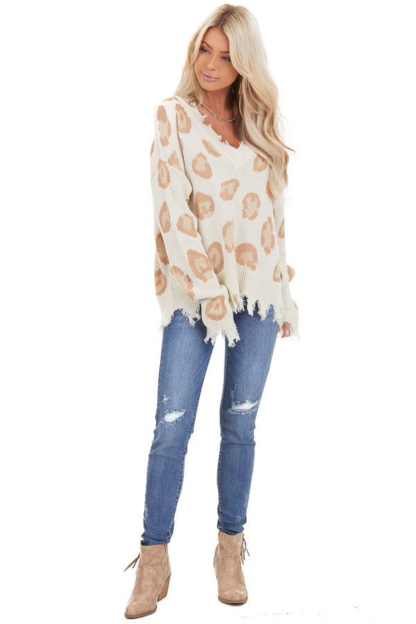 Ivory Leopard Print V Neck Sweater with Distressed Details front full body