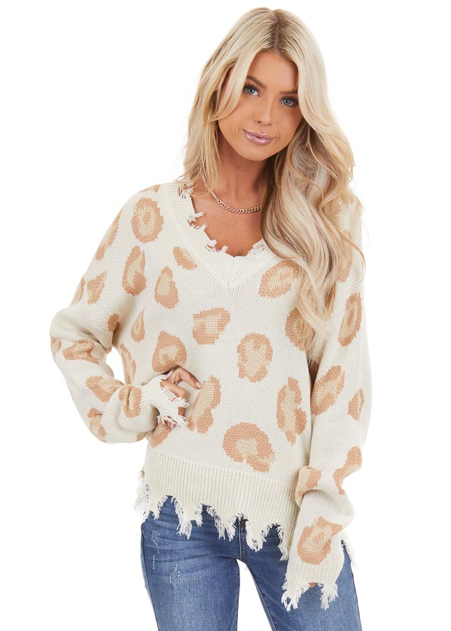 Ivory Leopard Print V Neck Sweater with Distressed Details front close up