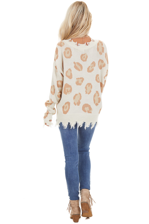 Ivory Leopard Print V Neck Sweater with Distressed Details back full body