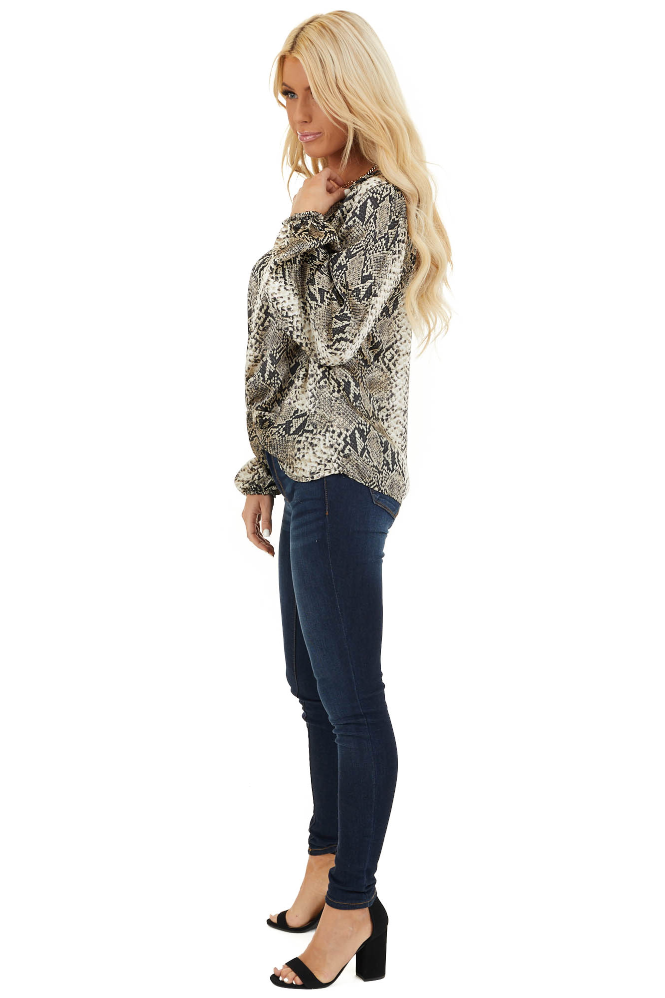Cream and Charcoal Snakeskin Print Top with Front Twist side full body