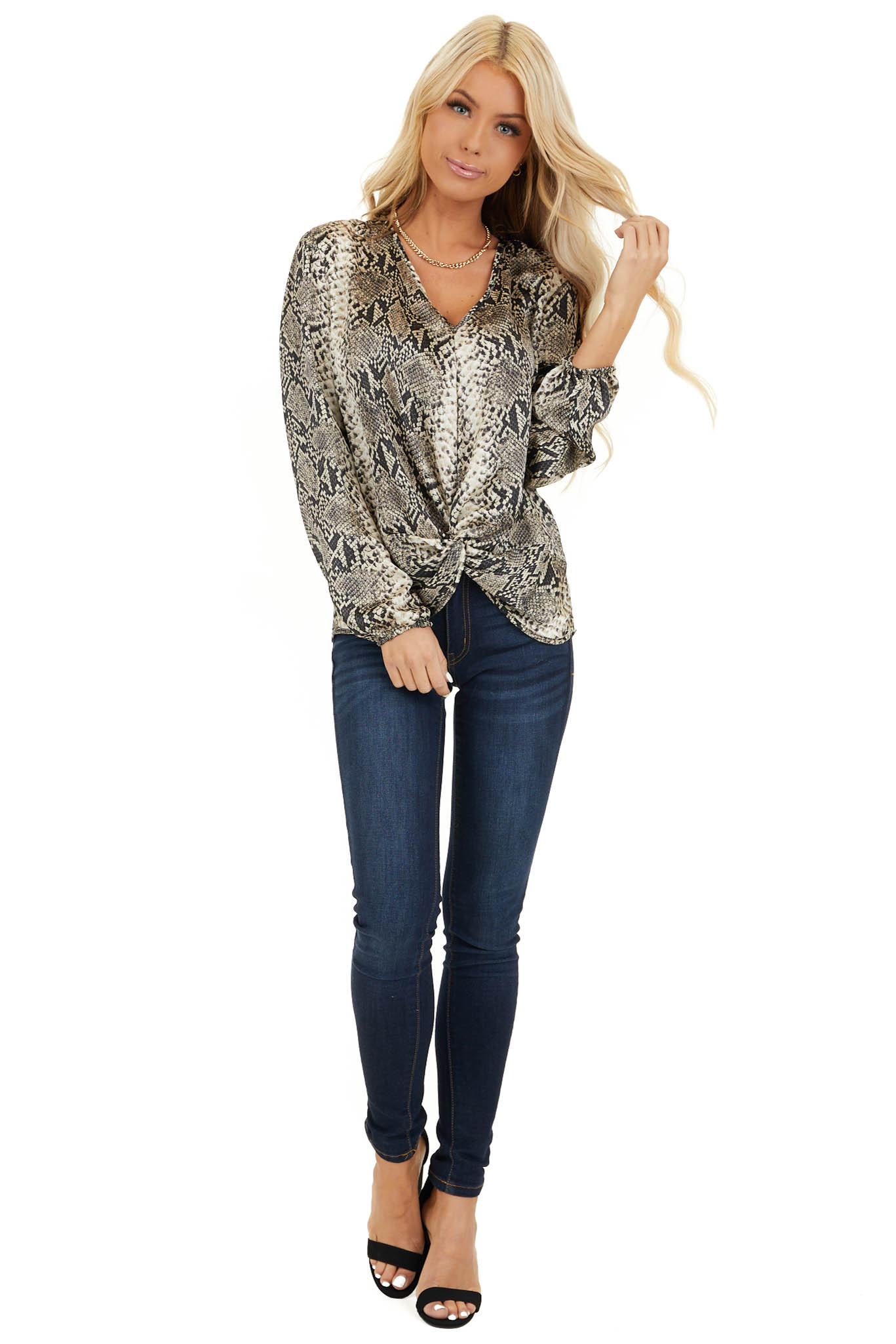 Cream and Charcoal Snakeskin Print Top with Front Twist front full body