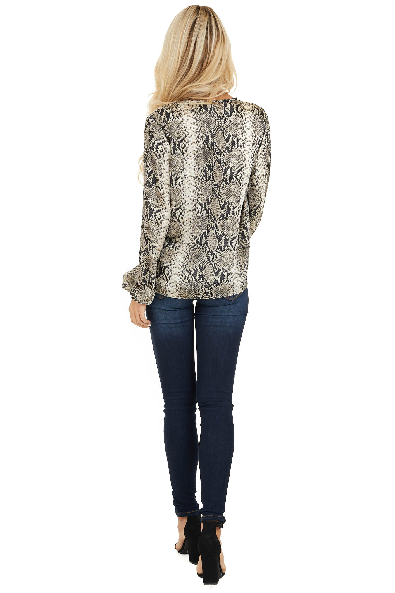 Cream and Charcoal Snakeskin Print Top with Front Twist back full body