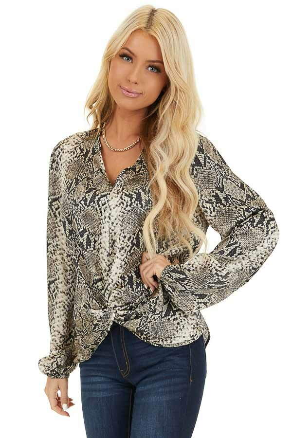Cream and Charcoal Snakeskin Print Top with Front Twist front close up