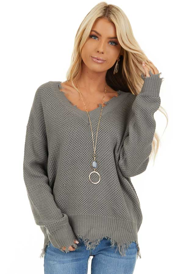 Stormy Grey Distressed Knit Sweater with V Neckline front close up