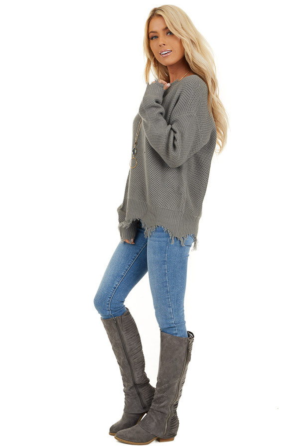 Stormy Grey Distressed Knit Sweater with V Neckline side full body