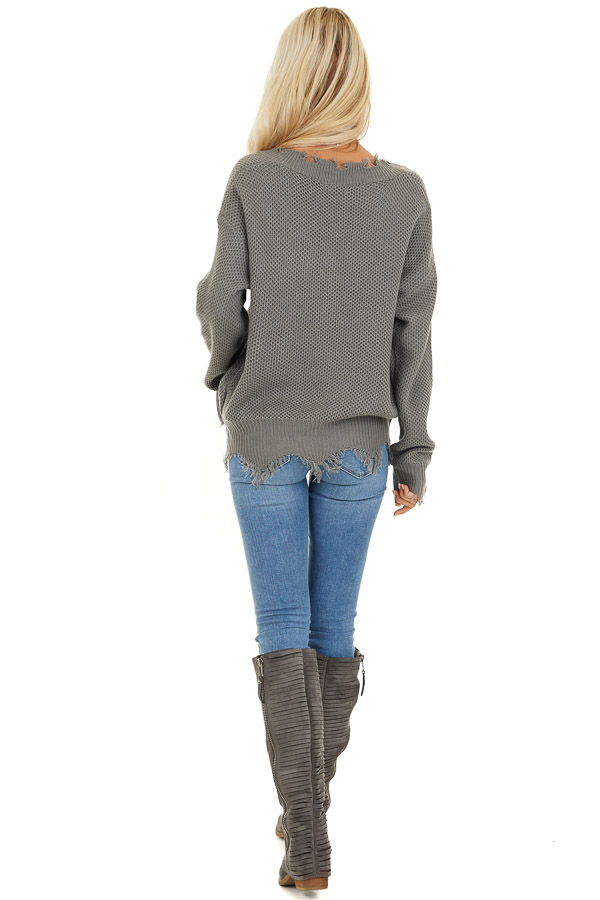 Stormy Grey Distressed Knit Sweater with V Neckline back full body
