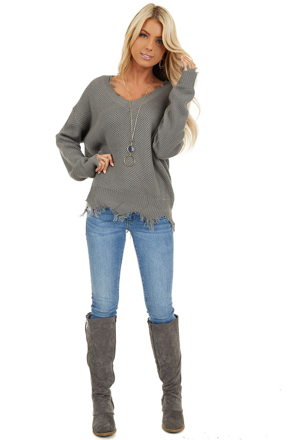 Stormy Grey Distressed Knit Sweater with V Neckline front full body