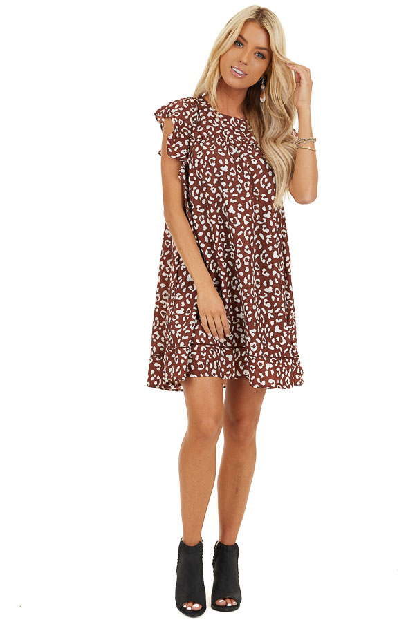 Marsala Animal Print Babydoll Dress with Ruffle Sleeves front full body