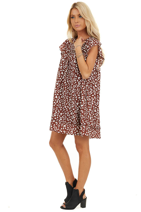 Marsala Animal Print Babydoll Dress with Ruffle Sleeves side full body