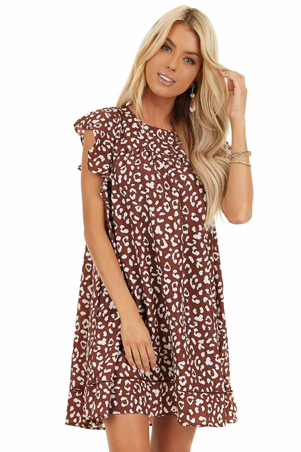 Marsala Animal Print Babydoll Dress with Ruffle Sleeves