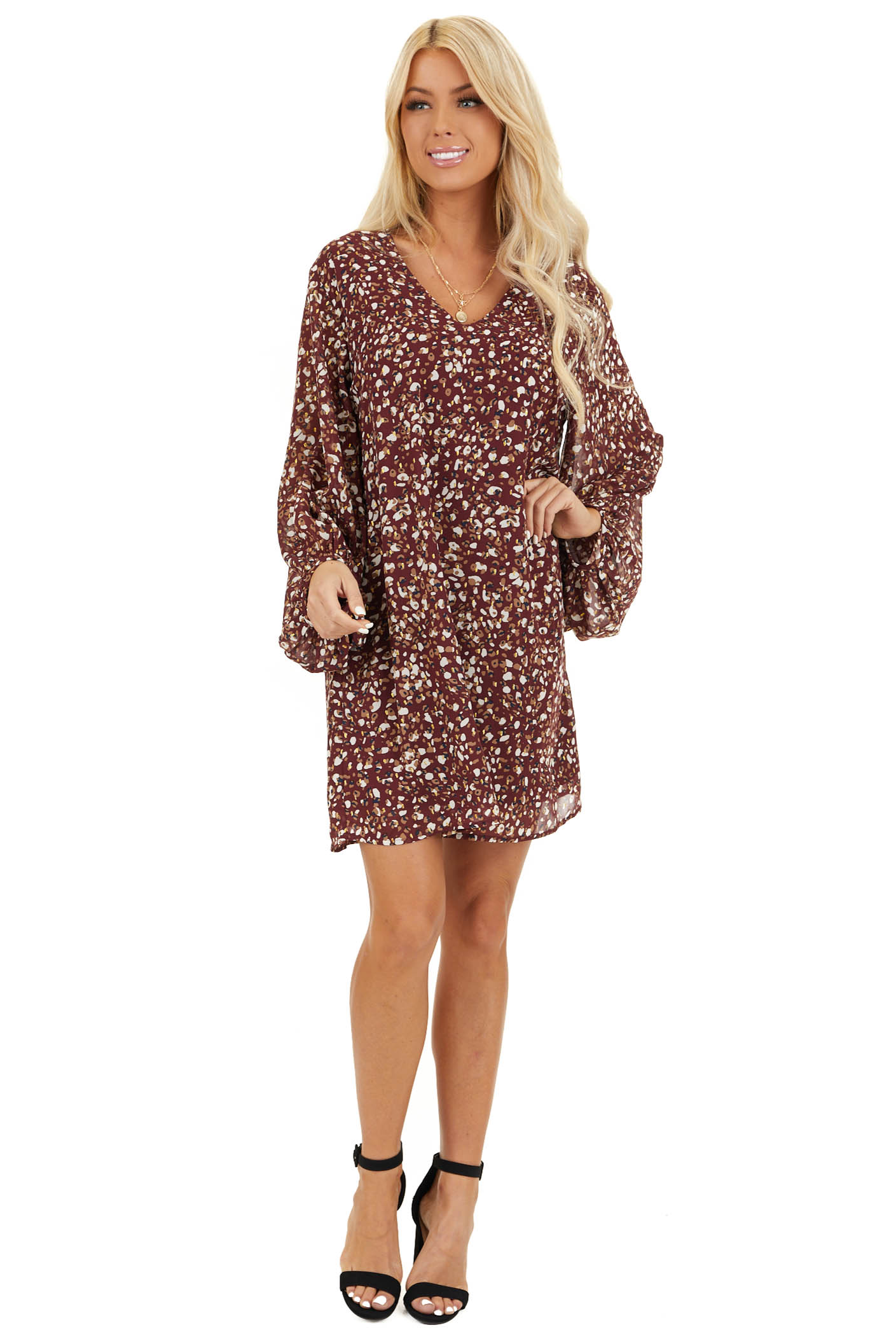 Wine Printed Long Sleeve Mini Dress with V Neckline front full body