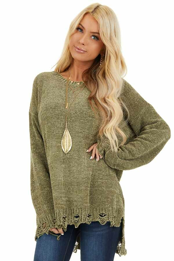 Olive Chenille Sweater with Distressed Hems front close up