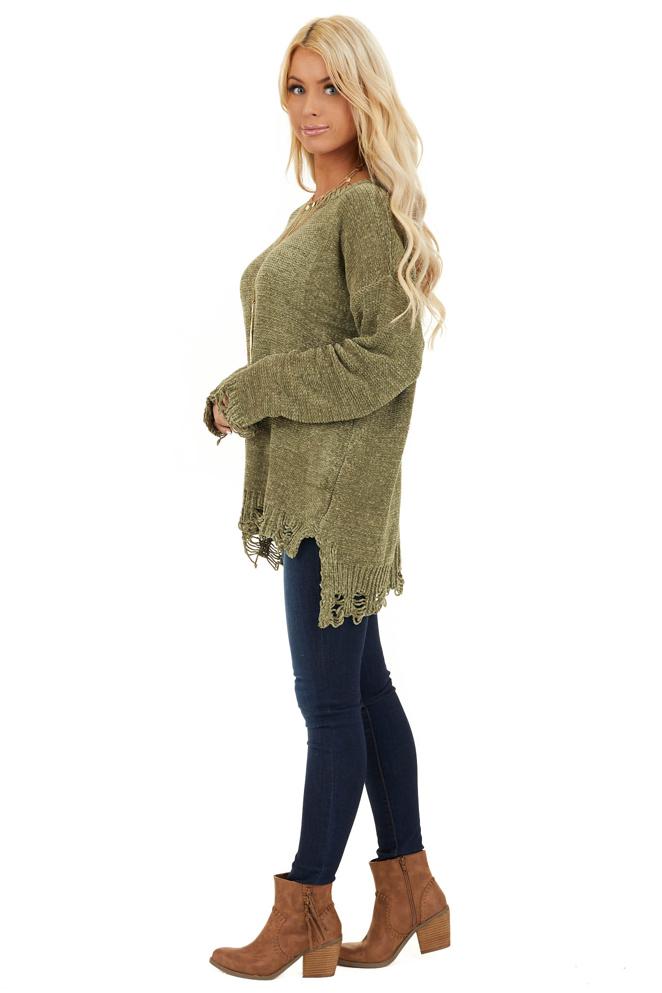 Olive Chenille Sweater with Distressed Hems side full body