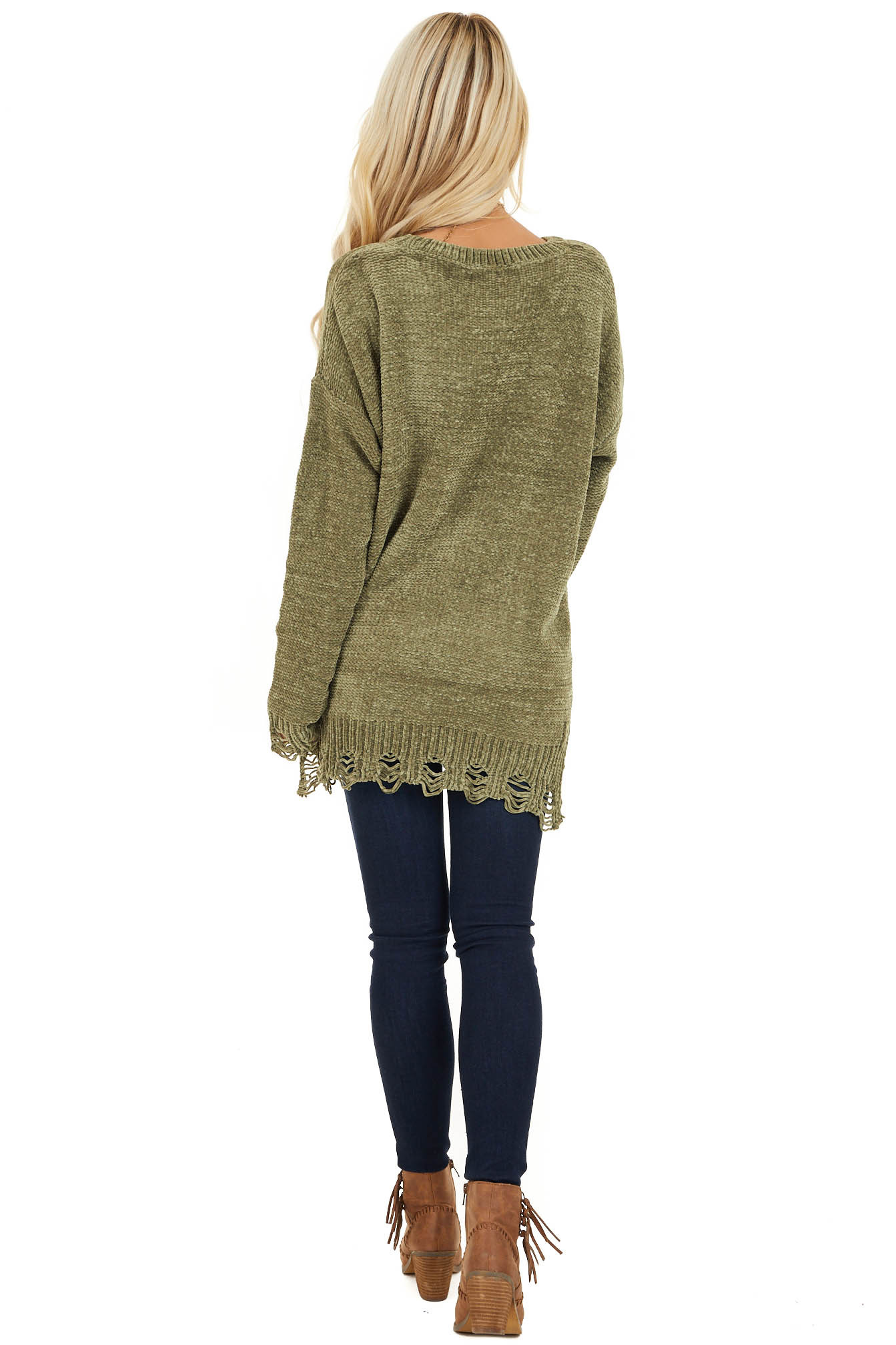 Olive Chenille Sweater with Distressed Hems back full body