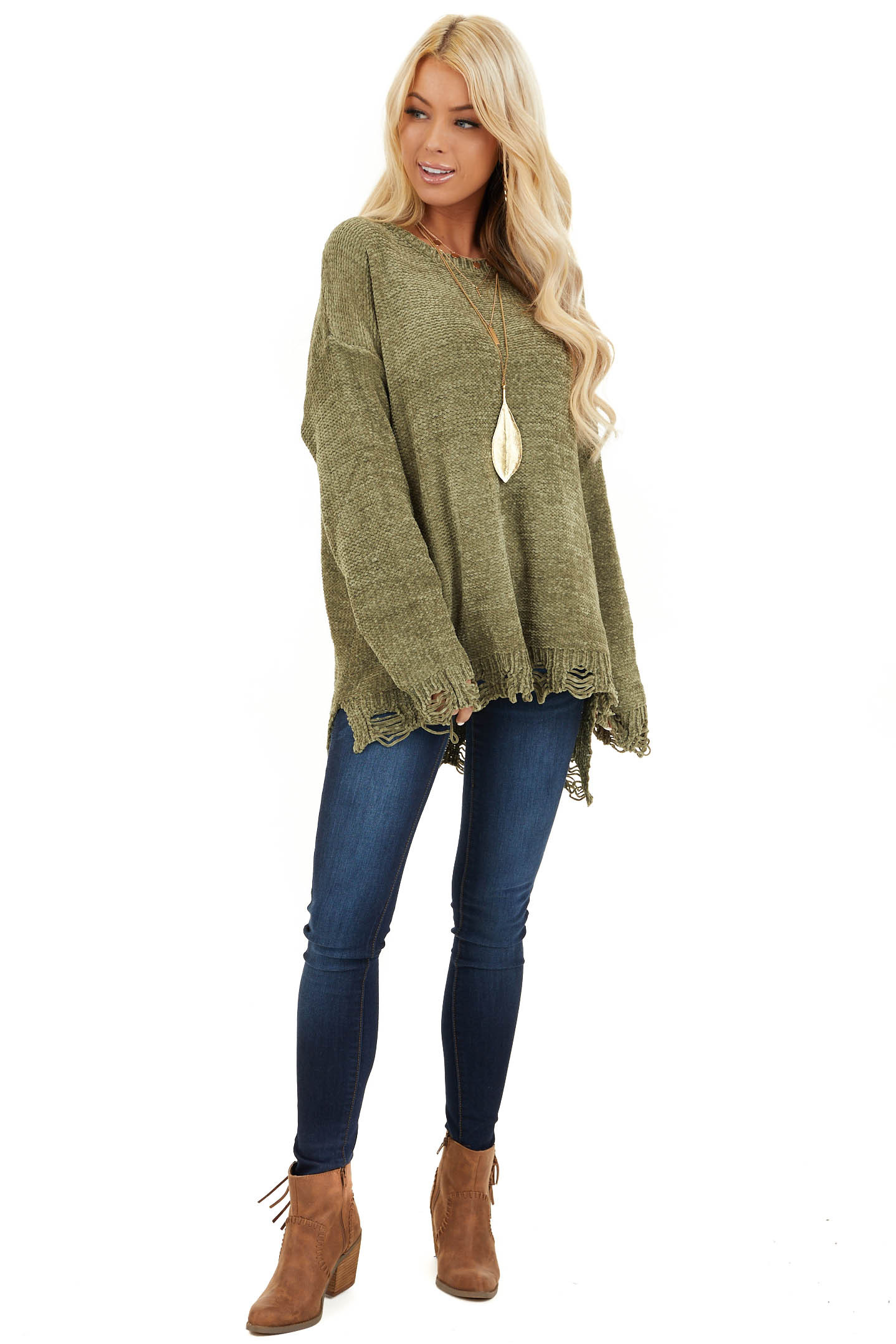 Olive Chenille Sweater with Distressed Hems front full body