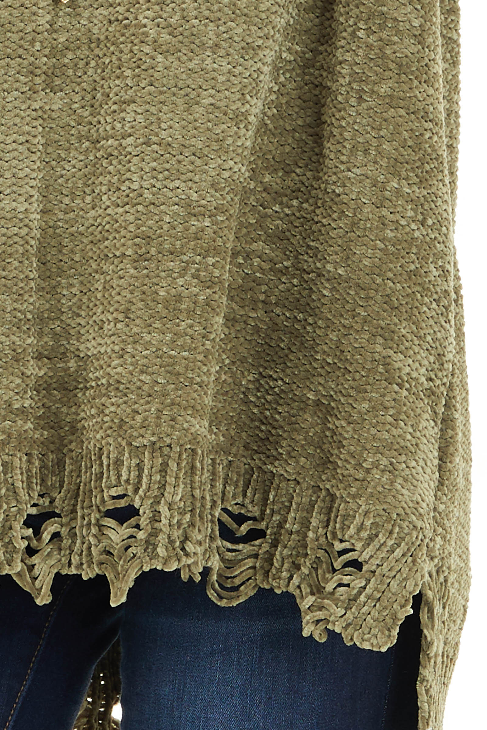Olive Chenille Sweater with Distressed Hems detail