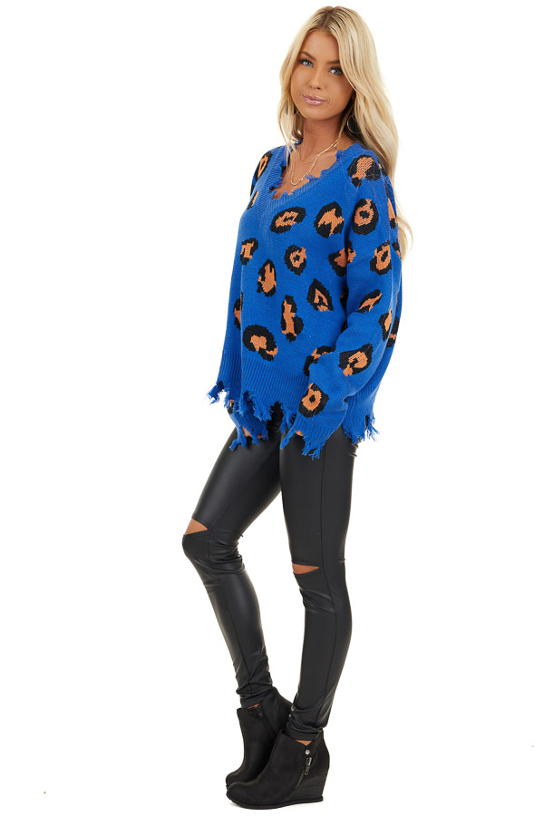 Royal Blue Leopard Print Knit Sweater with Distressed Detail side full body