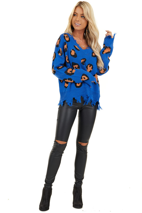 Royal Blue Leopard Print Knit Sweater with Distressed Detail front full body