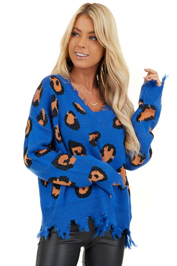 Royal Blue Leopard Print Knit Sweater with Distressed Detail front close up