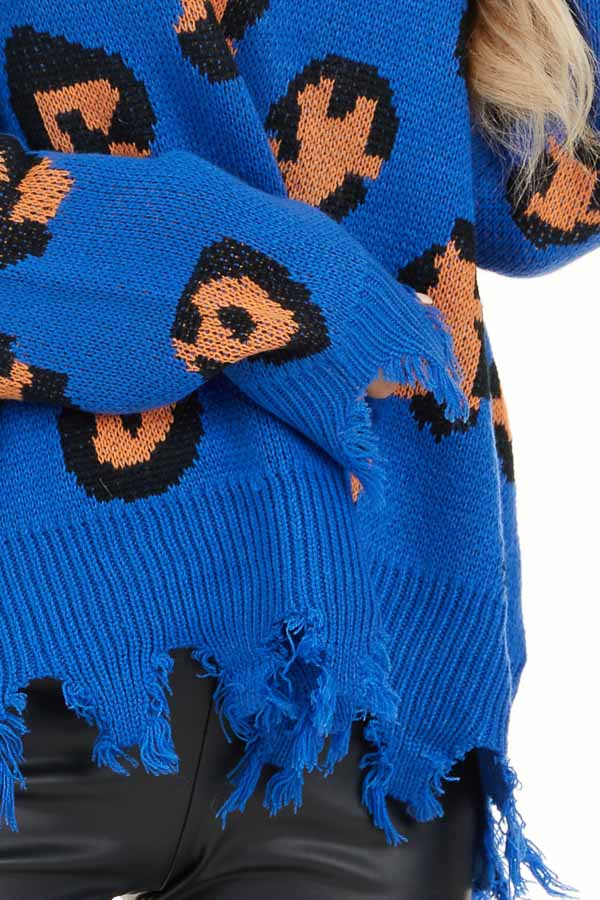 Royal Blue Leopard Print Knit Sweater with Distressed Detail detail