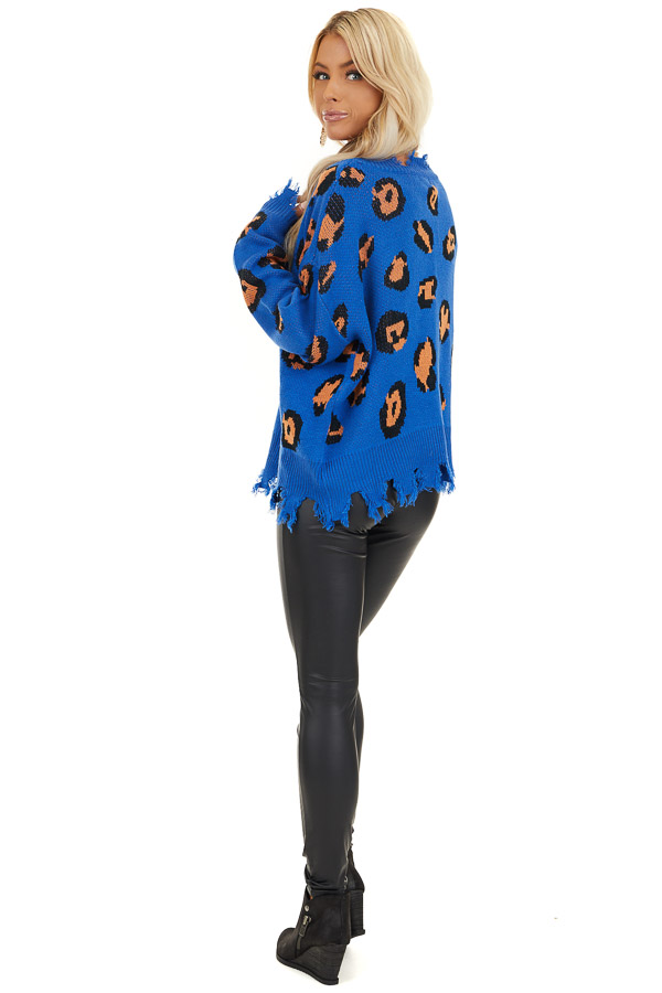 Royal Blue Leopard Print Knit Sweater with Distressed Detail back full body