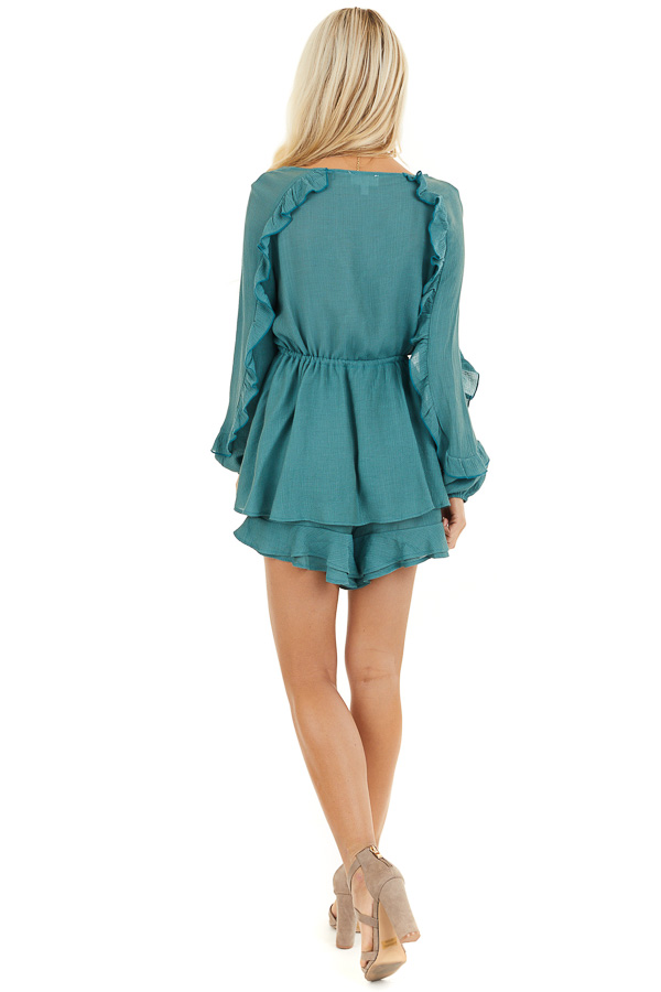 Jungle Green Surplice Romper with Ruffles and Waist Tie back full body