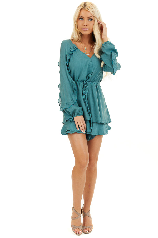Jungle Green Surplice Romper with Ruffles and Waist Tie front full body
