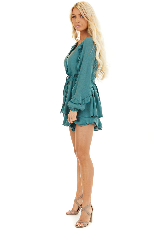 Jungle Green Surplice Romper with Ruffles and Waist Tie side full body
