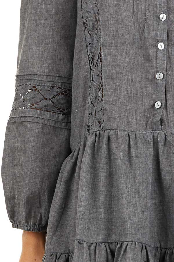 Stormy Grey Babydoll Dress with Button Detail and Lace Inset detail