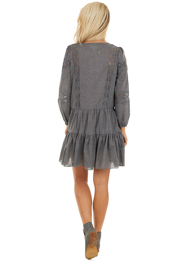 Stormy Grey Babydoll Dress with Button Detail and Lace Inset back full body