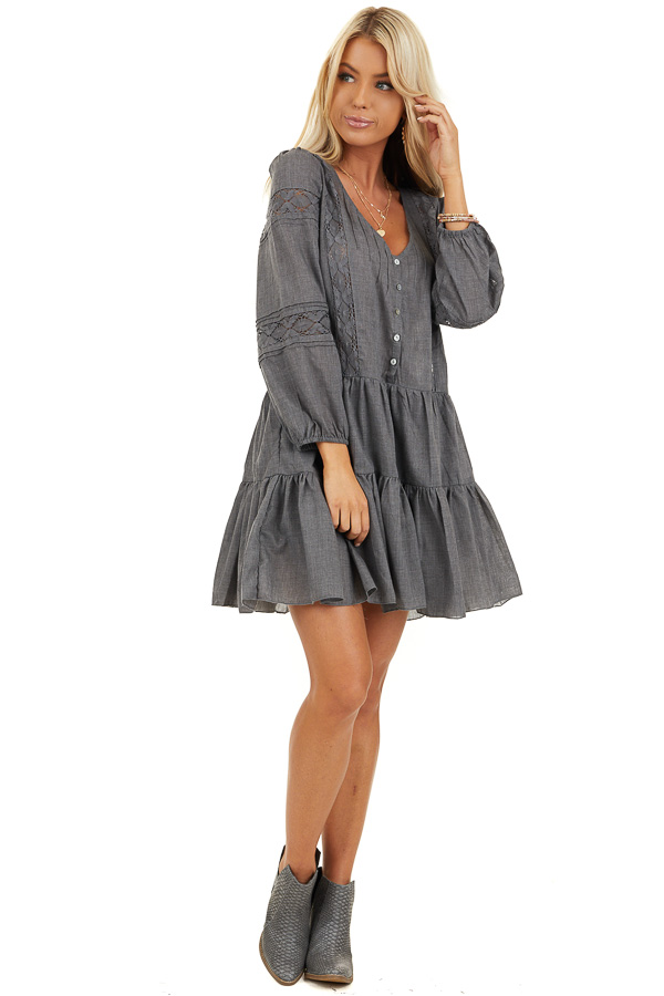 Stormy Grey Babydoll Dress with Button Detail and Lace Inset front full body